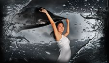 Free Woman Holding Fabric With Abstract Water Splash Royalty Free Stock Photo - 14438925