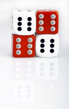 Free White And Red Dice Counters Stock Images - 14438944