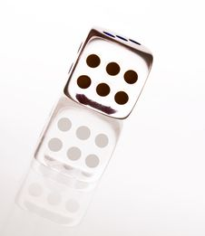 Cristal Dice With Shadow Royalty Free Stock Images