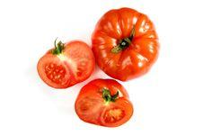 Free Fresh Tomato Close-up On White Stock Images - 14439294
