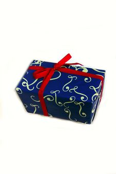 Blue Gift Box With Red Ribbon Stock Photography