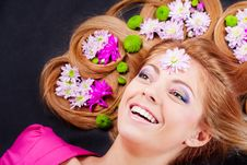 Free Girl With Flowers Royalty Free Stock Image - 14439436