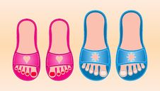 Free Red And Blue Beach Shoes Stock Photos - 14439743
