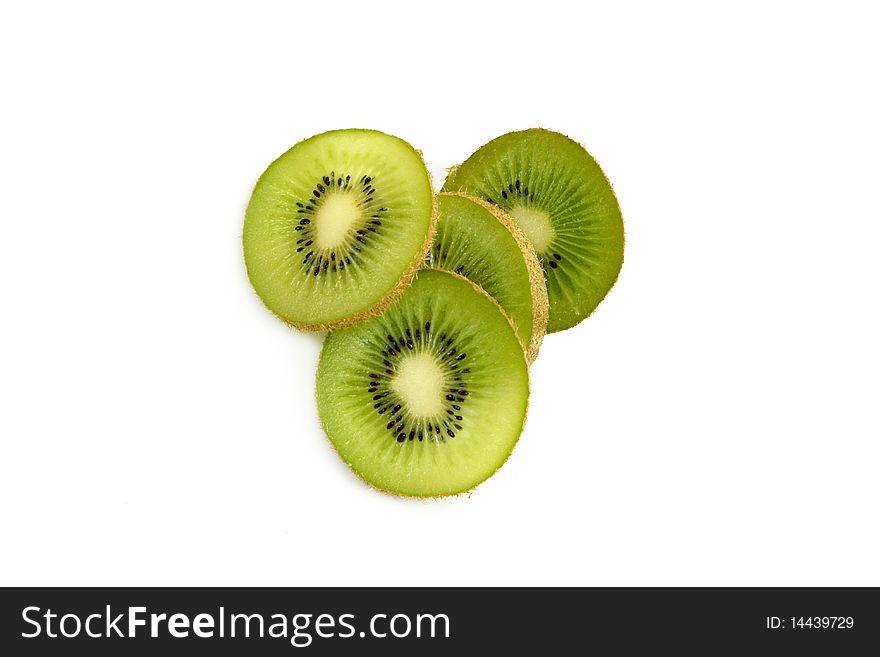 Kiwi slices on white
