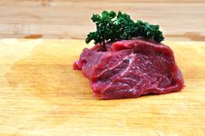Raw Beef Meat On Cutting Board For Barbecue Stock Photos