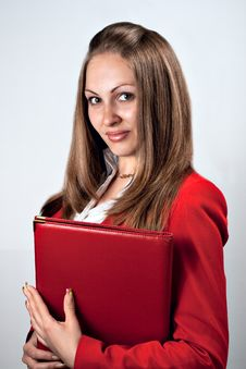 Free Beauty Lady Holding Red Folder Stock Images - 14440784