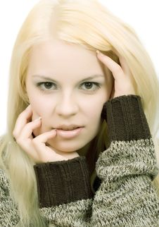 Free Young Blonde Woman In Sweater Royalty Free Stock Photography - 14442027