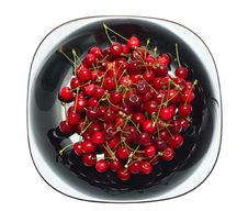 Free Fresh Ripe Cherry Berry In Black Glass Dish Stock Photos - 14442343