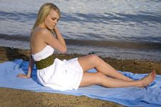 Free Eyes Closed Relax Beach Royalty Free Stock Photography - 14443627