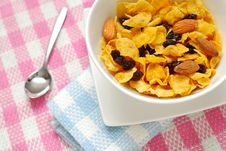 Breakfast Cereal With Raisins And Almond Nuts Royalty Free Stock Photos
