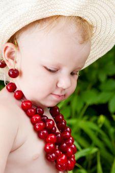 Girl And Cherries