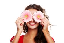 Woman And Gerbera Stock Images