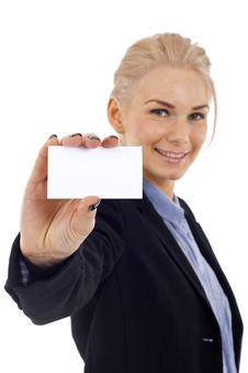 Presenting Business Card Royalty Free Stock Image