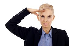 Free Business Woman Saluting Royalty Free Stock Photography - 14448517