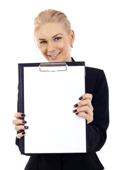 Free Woman Showing Clipboard Stock Photos - 14448523