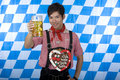 Free Young Happy Asian Man Holds Oktoberfest Beer Stein Stock Photo - 14459670