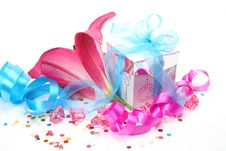 Free Gift And Lily Stock Photography - 14450942