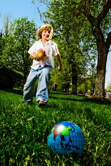 Free Boy With Ball Royalty Free Stock Images - 14451059