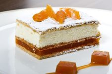 Free Fresh Cream Cake With Apricots Stock Photo - 14451440