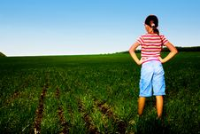 Free Girl In Field Stock Image - 14451651