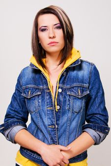 Free Lovely Girl In A Blue Denim Jacket Royalty Free Stock Images - 14452009
