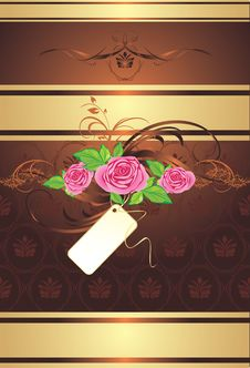 Free Bouquet Of Pink Roses With Ornament Stock Photography - 14452202