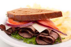 Roast Beef Sandwich On Rye Bread Royalty Free Stock Photo