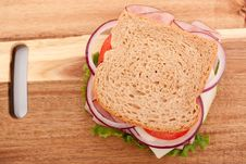 Free Ham Sandwich On Whole Wheat Bread Royalty Free Stock Photography - 14452207