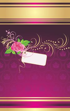Pink Rose With Card And Ornament. Wrapping Stock Photos
