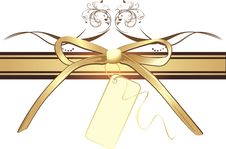 Free Golden Bow With Card On The Decorative Ribbon Royalty Free Stock Images - 14452389