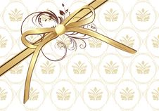 Free Golden Bow With Ornament Stock Image - 14452451