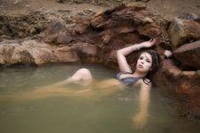 Free Woman In Bikini Wet Hair Full Body Serious Stock Photography - 14452872