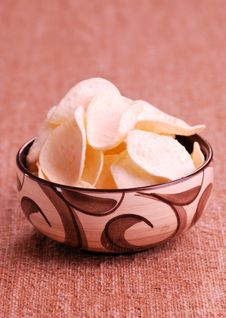 Chips In Bowl Royalty Free Stock Photo