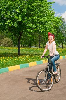 Free Shoot Of Young Woman With Bicycle Stock Images - 14453064