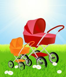 Free Baby Carriages On Beautiful Summer Field Stock Photos - 14453163