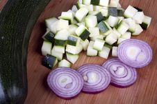 Free Cubed Zucchini And Sliced Red Onion Royalty Free Stock Photography - 14453267