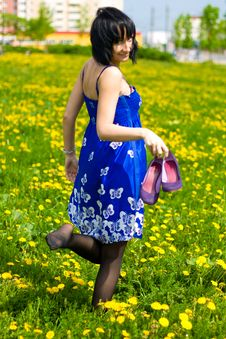 Free Summer Girl On A Background Of Grass Stock Photography - 14453342