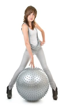 Free Athletic Girl With A Silver Ball Stock Photo - 14453540