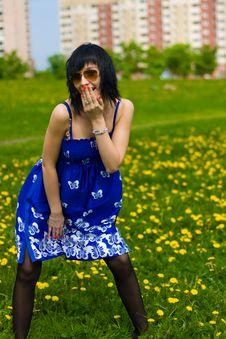 Free Summer Girl On A Background Of Grass Royalty Free Stock Photo - 14453545