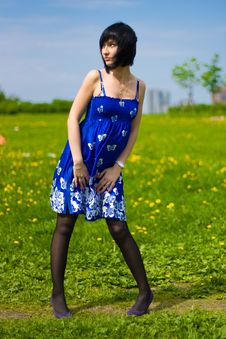 Free Summer Girl On A Background Of Grass Royalty Free Stock Photography - 14453757
