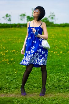 Free Summer Girl On A Background Of Grass Royalty Free Stock Photos - 14453818