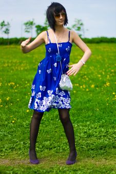 Free Summer Girl On A Background Of Grass Stock Image - 14453871