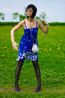 Free Summer Girl On A Background Of Grass Royalty Free Stock Images - 14453959