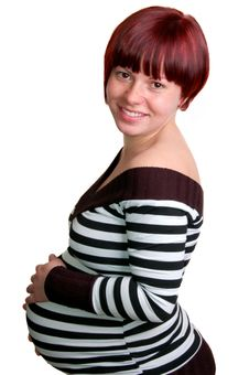 Free Portrait Of A Happy Pregnant Woman Royalty Free Stock Images - 14454029
