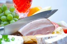 Free Tasty Bacon With Cheese And Wine Royalty Free Stock Images - 14455499