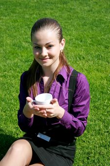 Free Student Drinking Tea At The Park Stock Photography - 14456072