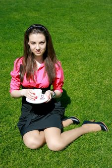 Free Young Businesswoman With Cup Of Tea Royalty Free Stock Images - 14456089