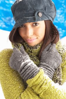 Young Woman Wearing Warm Winter Clothes In Studio Royalty Free Stock Photo
