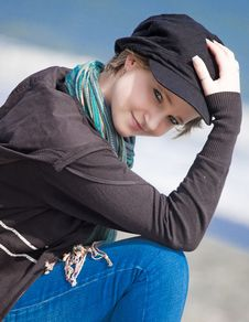 Free Blonde Girl With Black Hat Stock Photos - 14457153