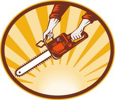 Free Hand Holding Chainsaw Stock Photo - 14458050
